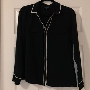 Black blouse with white trim